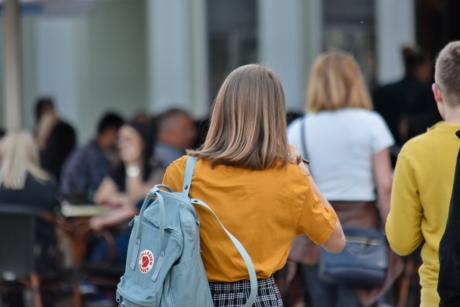 backpack, backpacker, blonde hair, pretty girl, woman, school, university, street, education, city