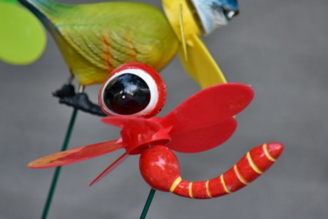 detail, details, dragonfly, handmade, plastic, red, toys, outdoors, bright, fun