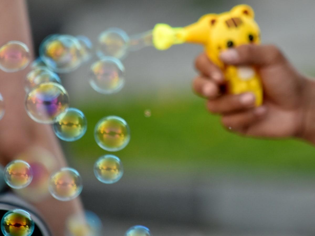 bulle, main, savon, jouet, nature, amusement, enfant, brouiller, gens, Couleur