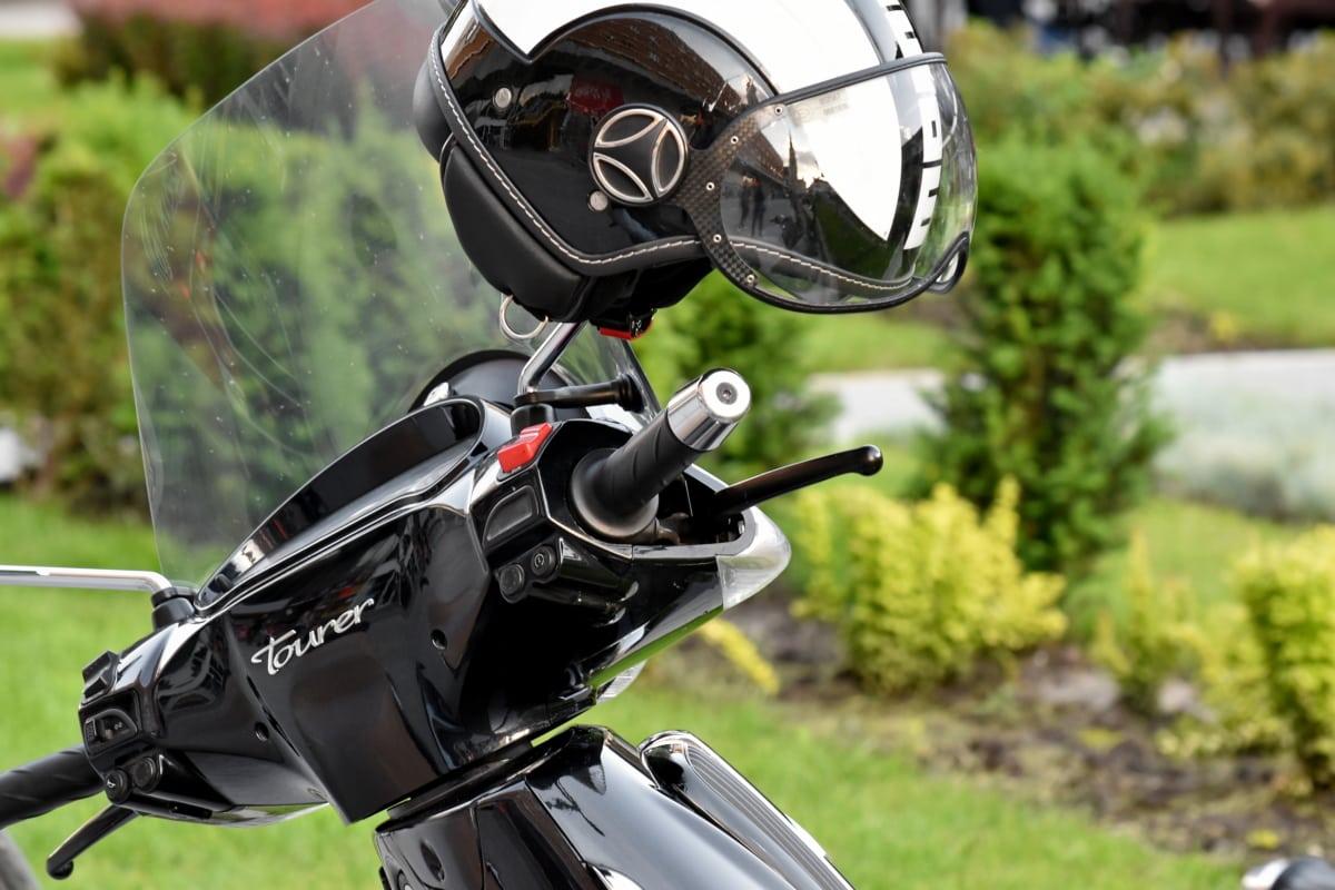 头盔, 迷你摩托车, 摩托车, 方向盘, 草, 经典, 户外活动, 夏天, 摩托车, 轮