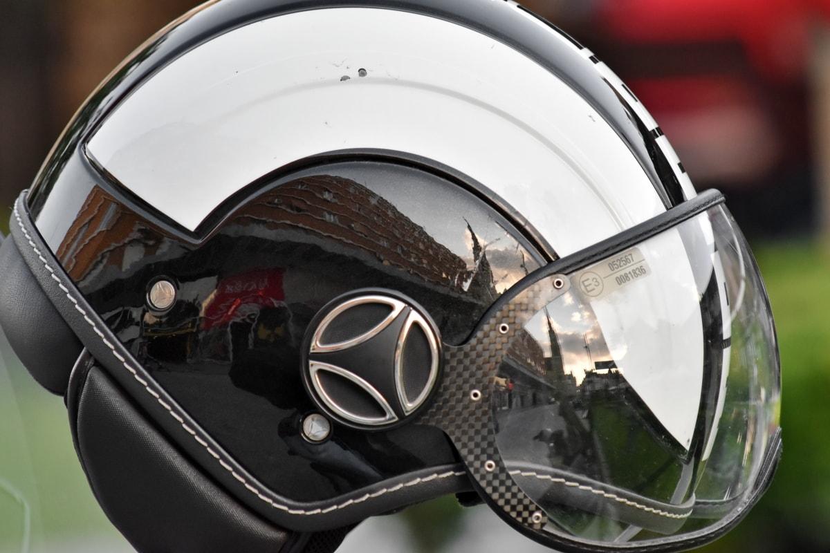 protección, reflexión, casco, bicicleta, vendimia, cromo, deporte, seguridad, moto, competencia