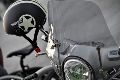 headlight, helmet, moped, motorcycle, nostalgia, windshield, wheel, chrome, classic, vehicle
