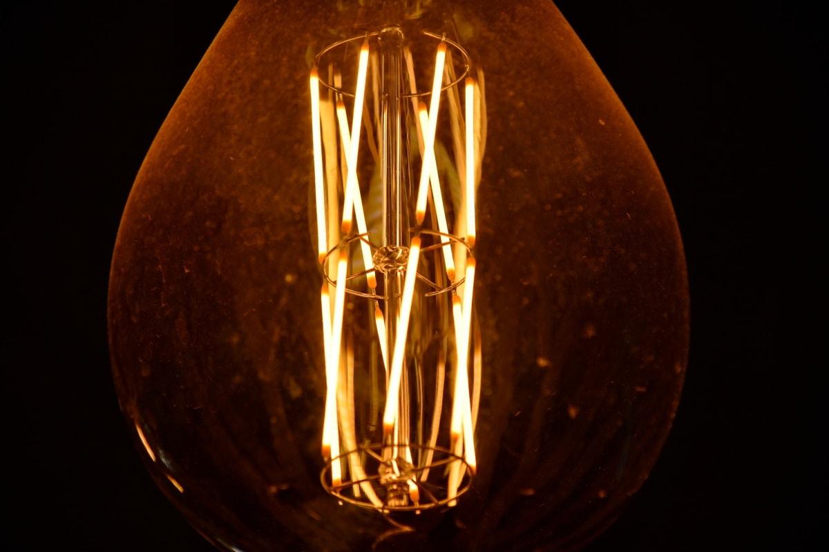 yksityiskohta, lamppu, luminesenssi, johdot, Lanka, sähkön, lamppu, valaistu, tumma, valo