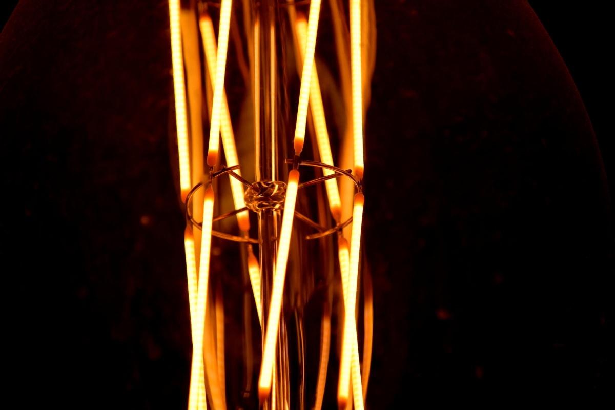 lyspære, makro, ledninger, mørk, varme, lys, luminescence, energi, svart, varm