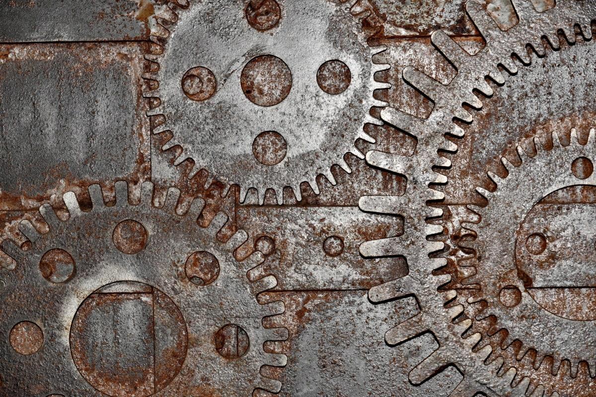 przemysł, Maszyny, Żelazko, rdza, stary, stali, metaliczne, ciężkie, biegu, tekstury