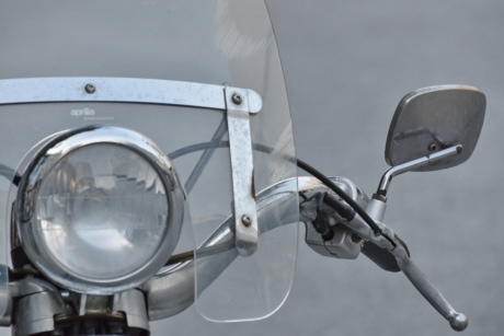 gearshift, headlight, moped, windshield, chrome, classic, cloud, detail, details, equipment