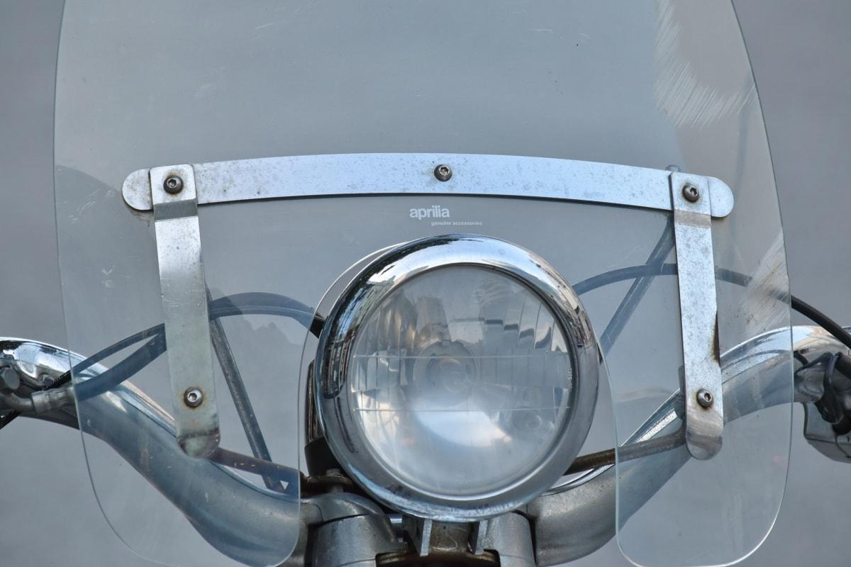 chrome, headlight, metallic, moped, windshield, wires, classic, detail, details, equipment