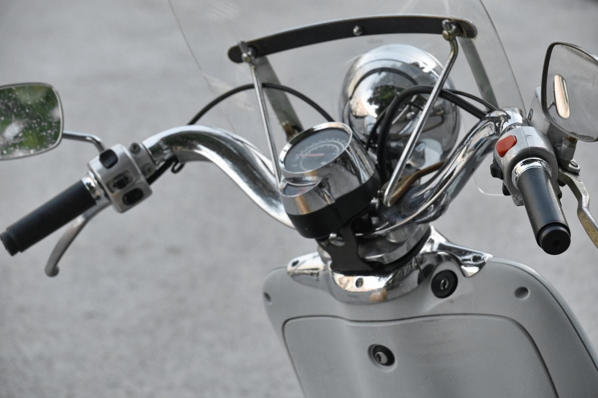 gauge, gearshift, motorcycle, speedometer, steering wheel, windshield, bike, chrome, classic, detail