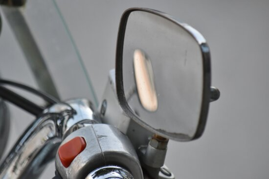 detail, gearshift, glass, mirror, moped, reflection, steering wheel, chrome, classic, equipment