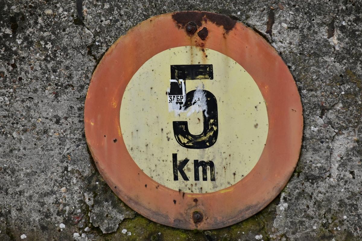 magasság, kilométer, szám, légiforgalmi irányítás, Figyelmeztetés, piszkos, utca, városi, régi, jel