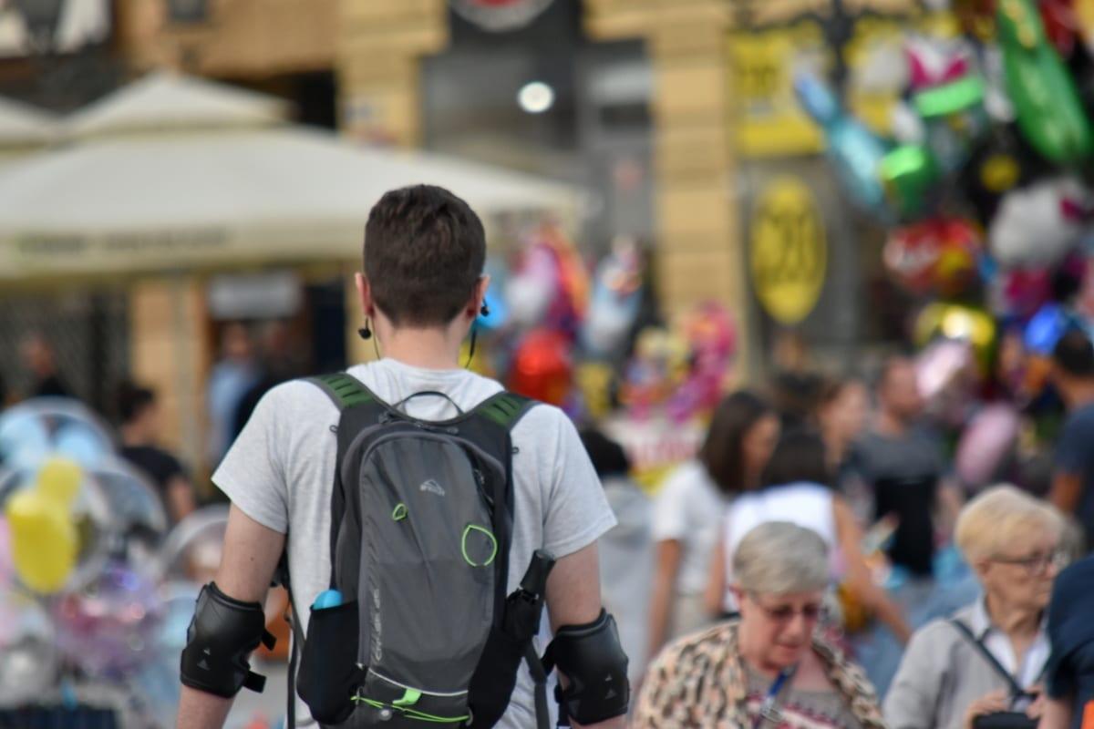 толпа, подросток, цикл, Молодые, человек, Город, Улица, Фестиваль, люди, дорога