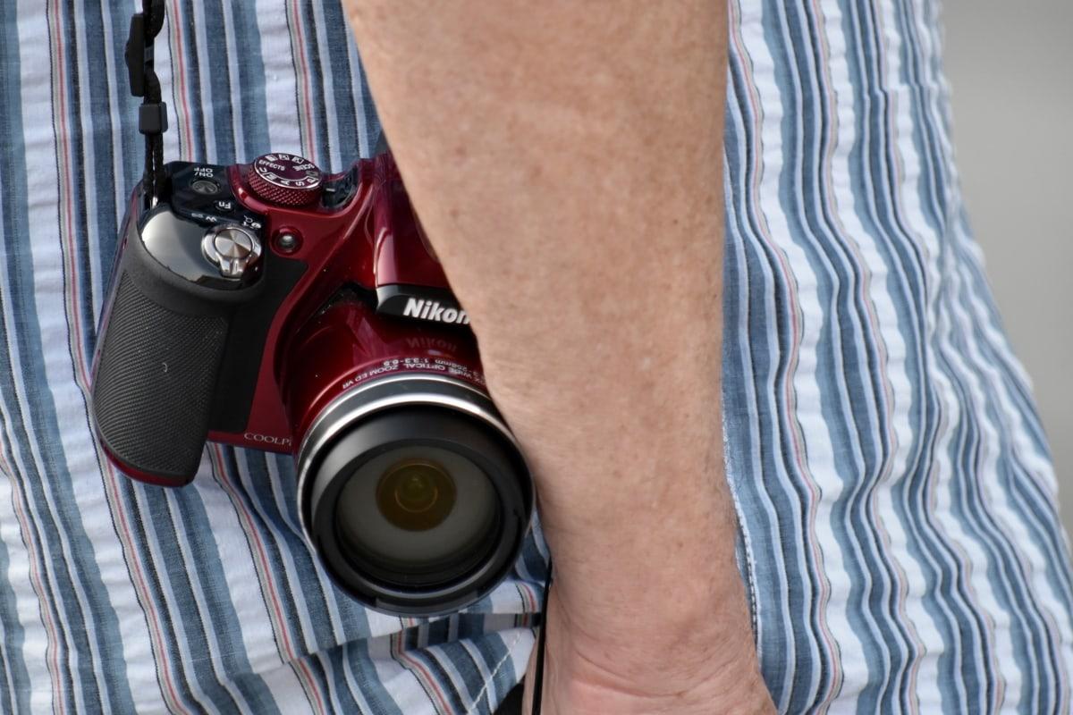 aparat de fotografiat, electronice, Focus, mână, lentilă, fotograf, fotografie, profesionale, om, moda