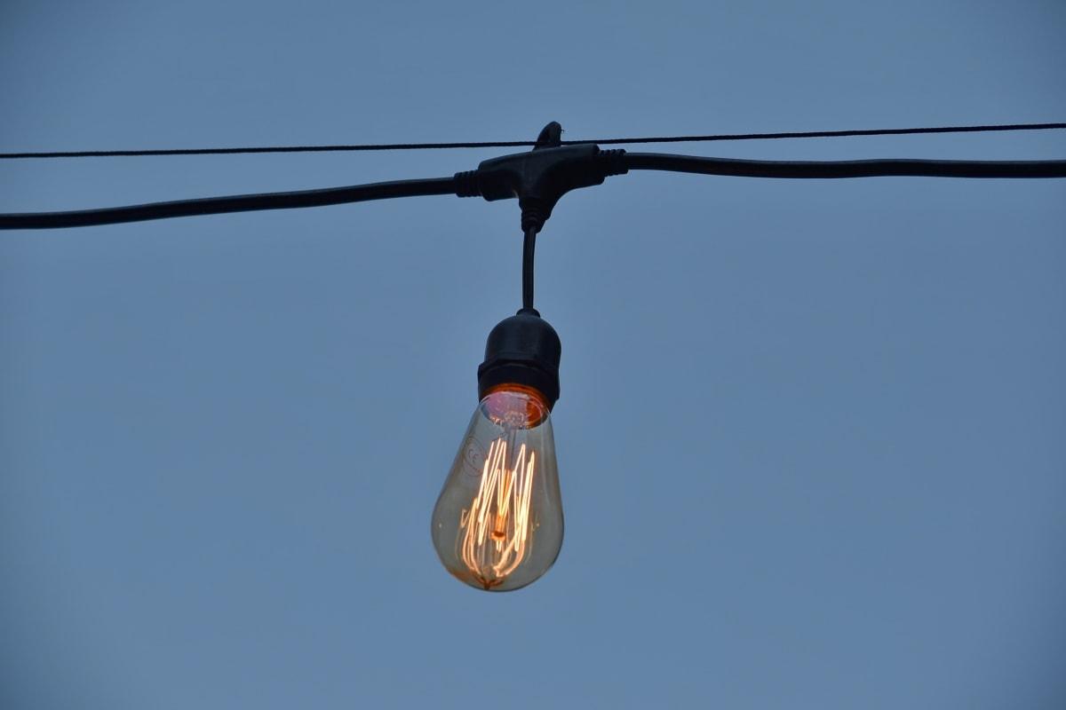 žárovka, kabel, mrak, detaily, Podrobnosti, elektrické, elektřina, sklo, vysoká, osvětlené