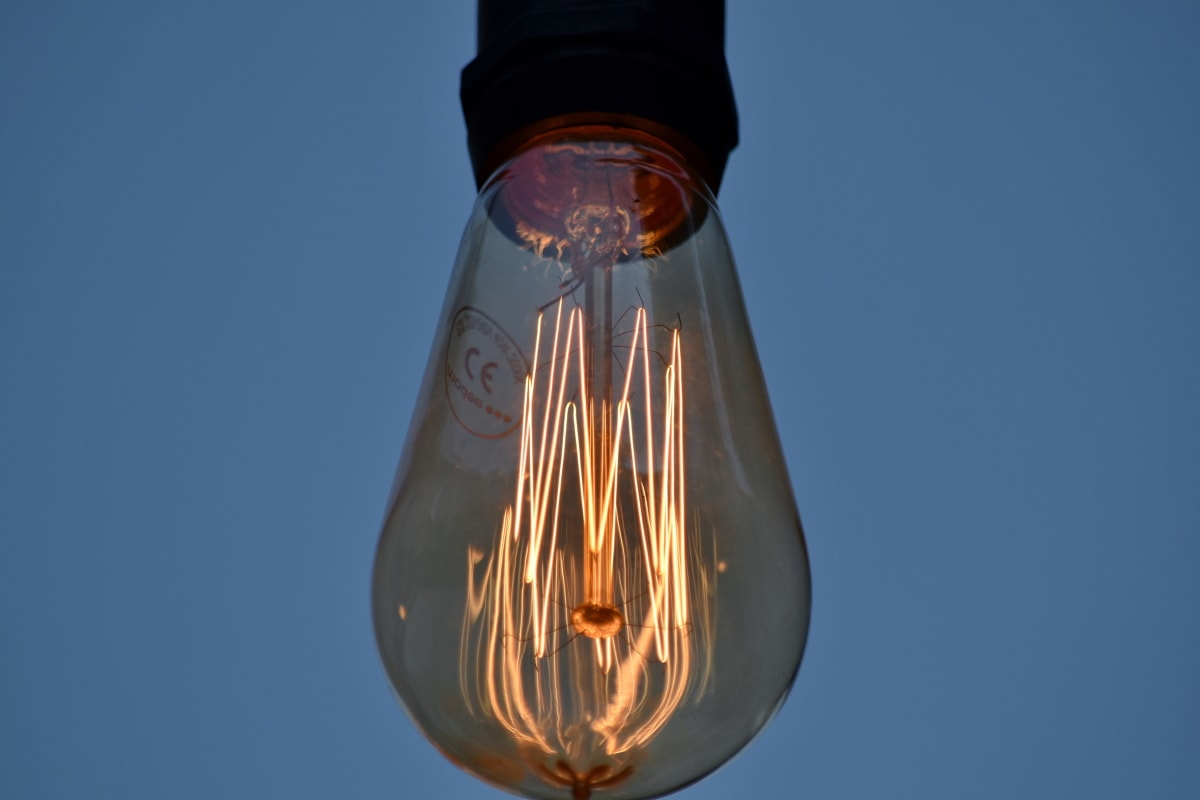 lyspære, lyse, skyen, detaljer, detaljer, elektrisitet, glass, opplyst, belysning, lampe
