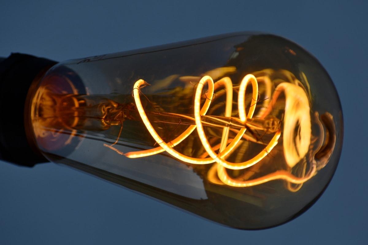 детайли, електрическа крушка, стар, прозрачен, проводници, устройство, светлина, електричество, топлина, тъмно