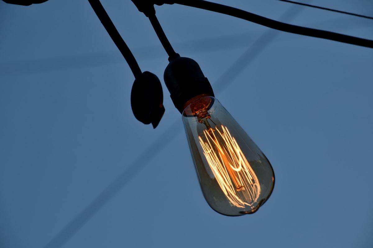 ljus, glödlampa, kabel, tråd, elektricitet, energi, teknik, naturen, Utomhus, spänning