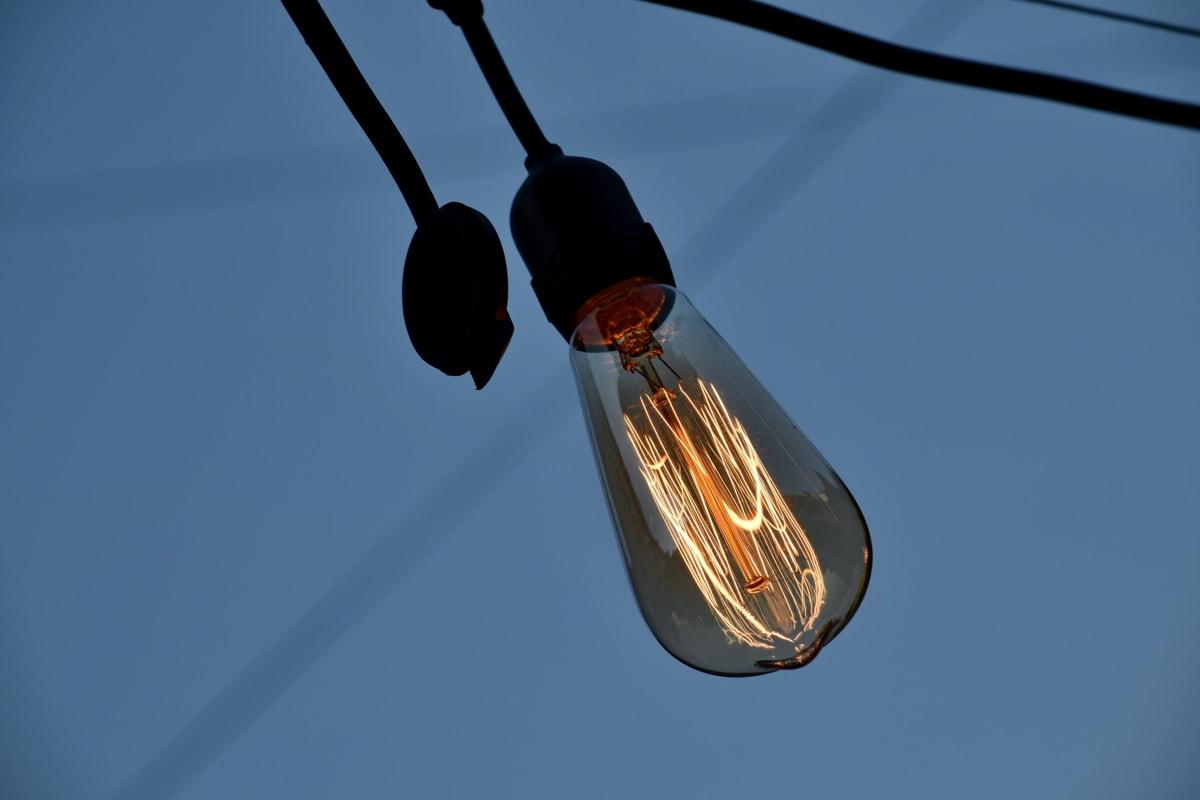 metalltråd, elektrisitet, lampe, lys, energi, teknologi, natur, utendørs, farge, høy