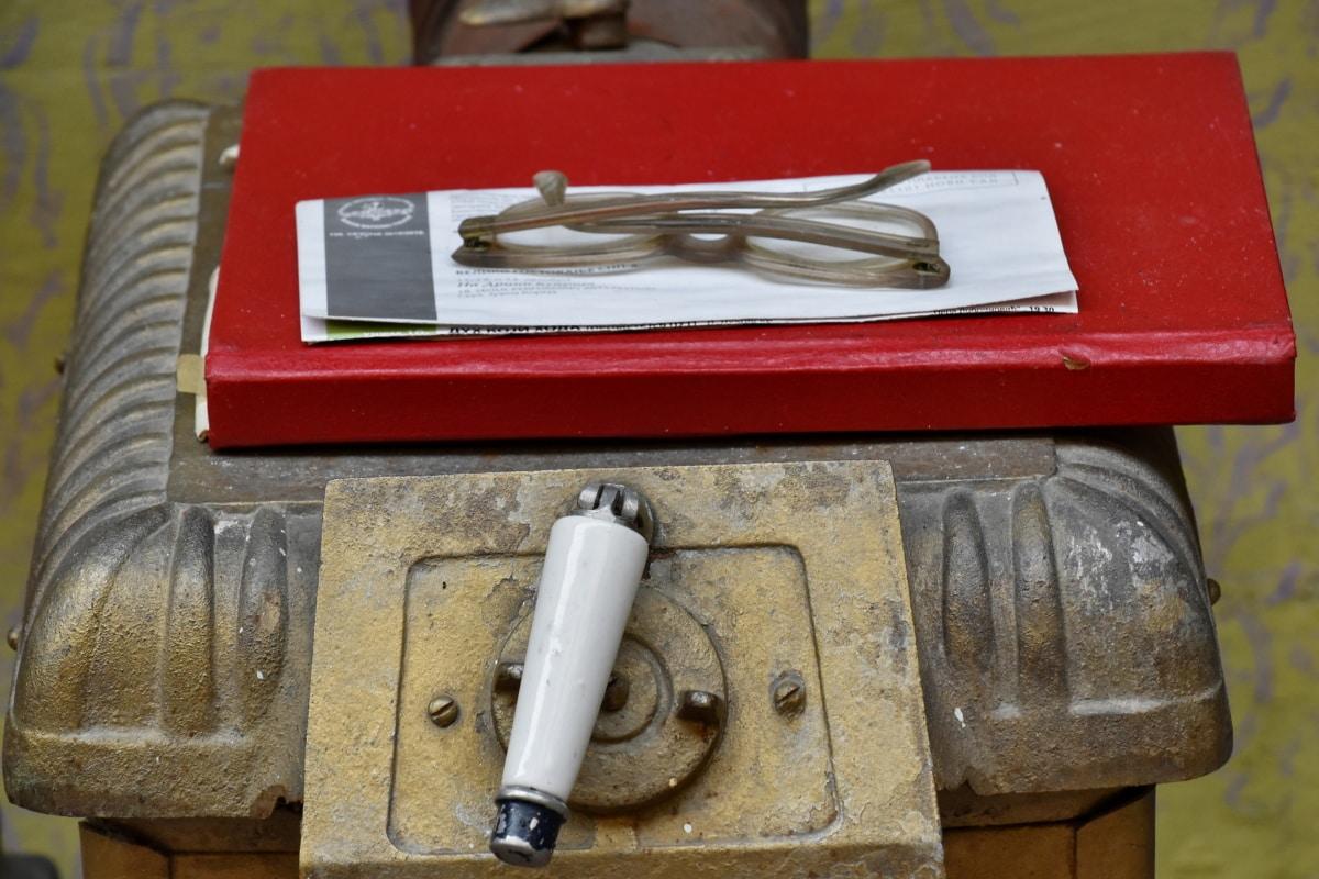 naočale, papir, ploča za kuhanje, stari, drvo, retro, tehnologija, čelik, prljavi, starinsko