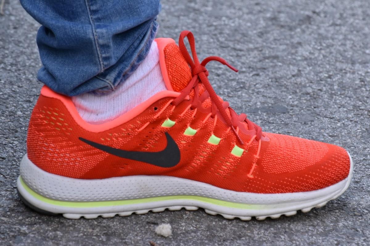 joggesko, sko, foten, sko, mote, skinn, fottøy, shoelace, gate, farge