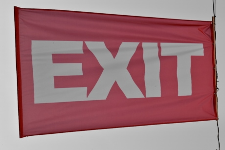 detail, exit, red, flag, emblem, wind, symbol, banner, painting, sign