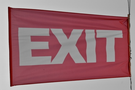 exit, sign, flag, emblem, wind, symbol, banner, alphabet, canvas, detail