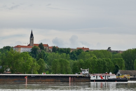 castle, church tower, Croatia, water, city, architecture, waterfront, river, boat, bridge