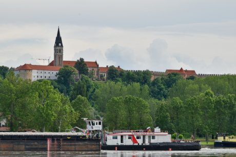 barge, castle, church tower, ship, river, water, city, architecture, boat, bridge