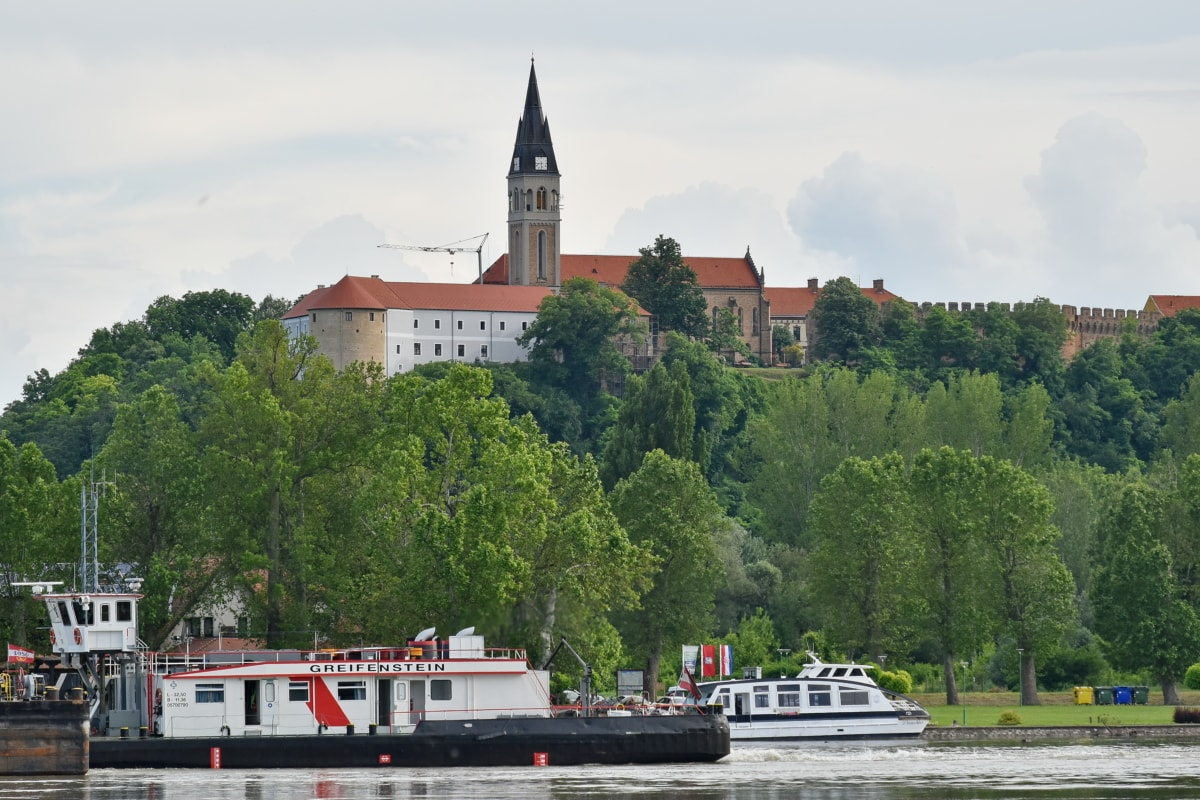 castle, church tower, Croatia, medieval, water, tower, tugboat, architecture, river, city