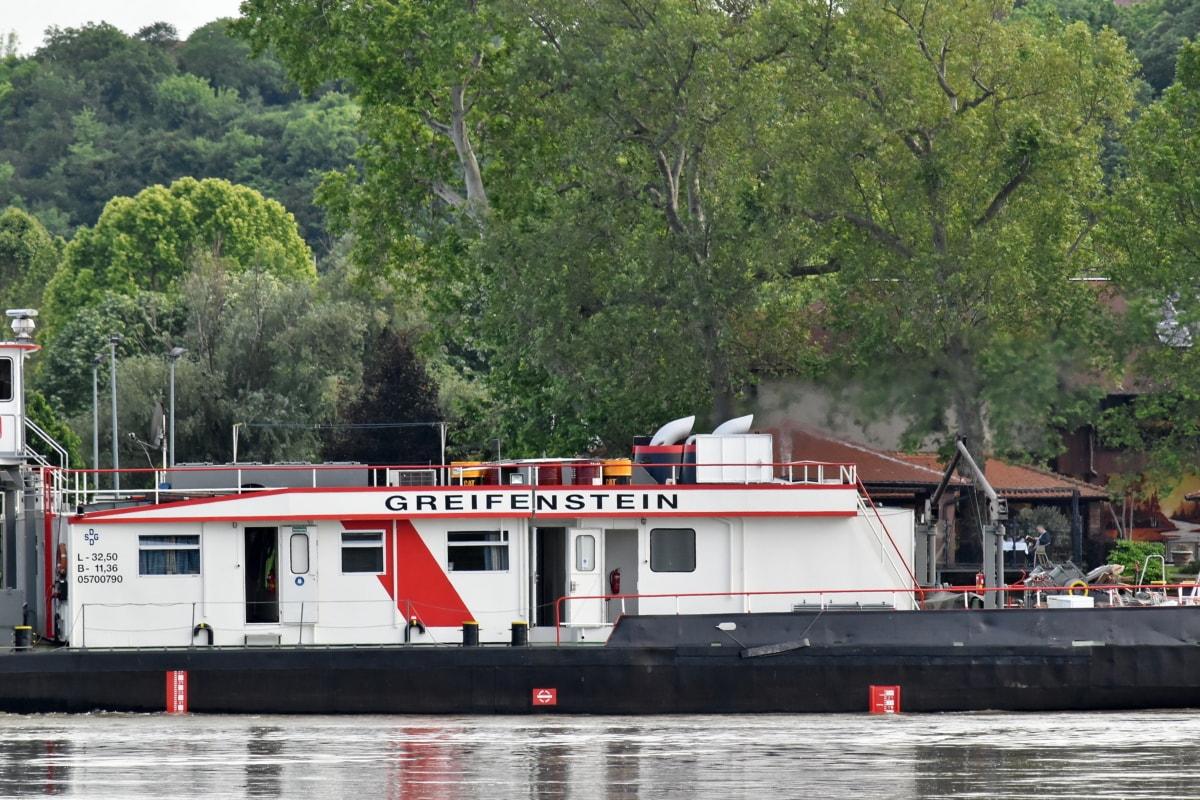 barge, Danube, industry, riverbank, tugboat, water, ship, wheel, vehicle, boathouse