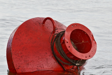 buoy, cast iron, red, traffic control, float, equipment, boat, water, ship, harbor