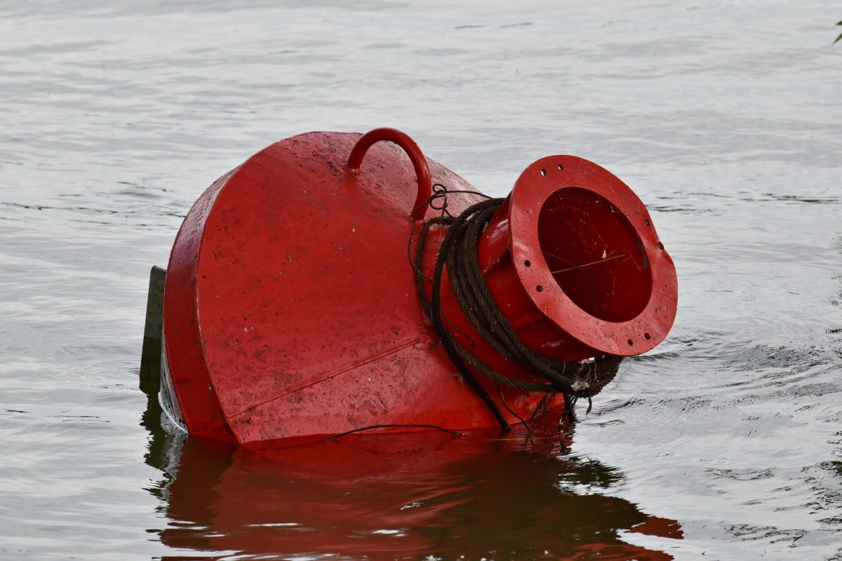 buoy, float, floating, red, traffic control, water, sea, boat, ocean, nature