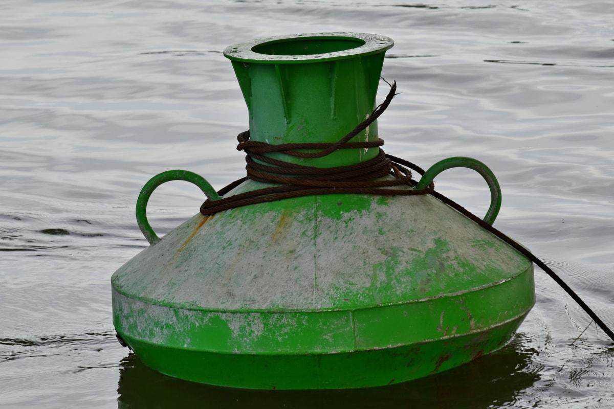 plutača, lijevano željezo, zelena, željezo, metal, objekat, rijeka, kontrola prometa, žice, voda