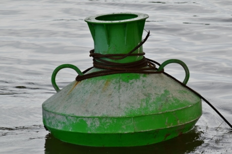 buoy, cast iron, green, iron, metal, object, river, traffic control, wires, water