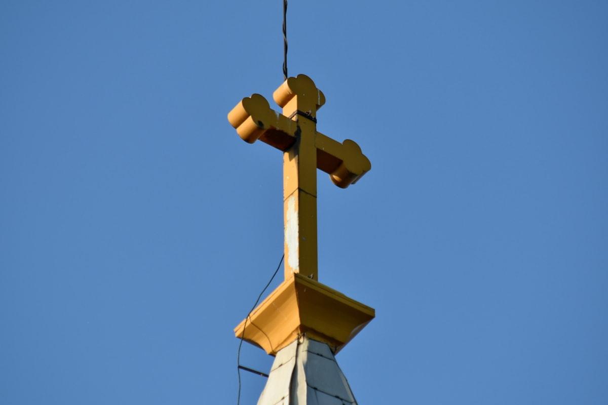 Σταυρός, σύρμα, συσκευές, αρχιτεκτονική, τέχνη, μπλε του ουρανού, Εκκλησία, σύννεφο, συσκευή, ηλεκτρικά