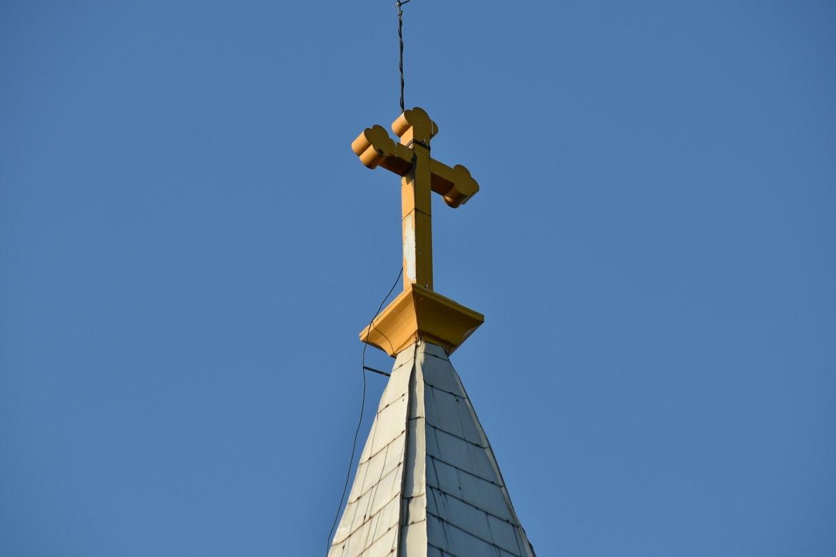 katolički, crkveni toranj, Bakar, križ, žica, uređaj, arhitektura, umjetnost, plavo nebo, zgrada