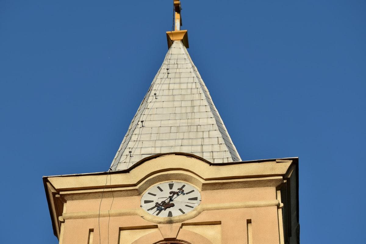 analog klokke, gamle, arkitektoniske stil, arkitektur, kunst, blå himmel, bygge, katedralen, kristne, kirke