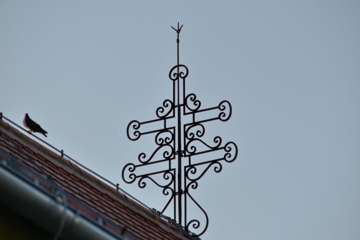 art, baroque, cast iron, cross, bird, architecture, old, design, vintage, iron