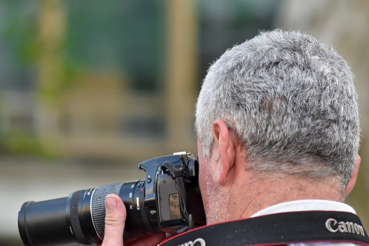 paparazzi, photojournalist, portrait, side view, camera, photographer, equipment, lens, man, journalist