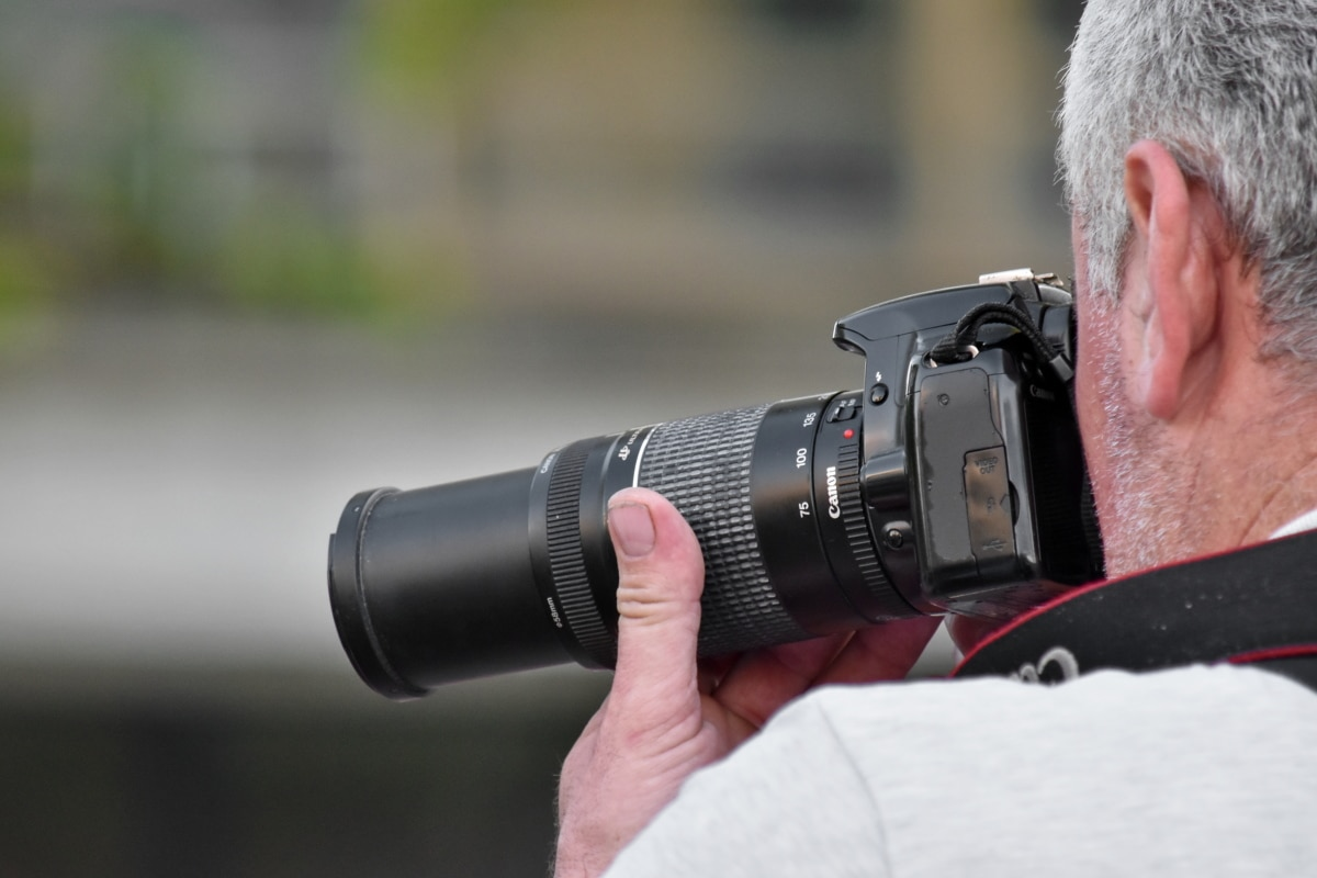 camera, photographer, portrait, zoom, equipment, lens, man, aperture, focus, technology