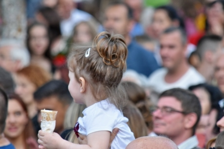 ceremony, childhood, crowd, icecream, pretty girl, people, child, festival, woman, group