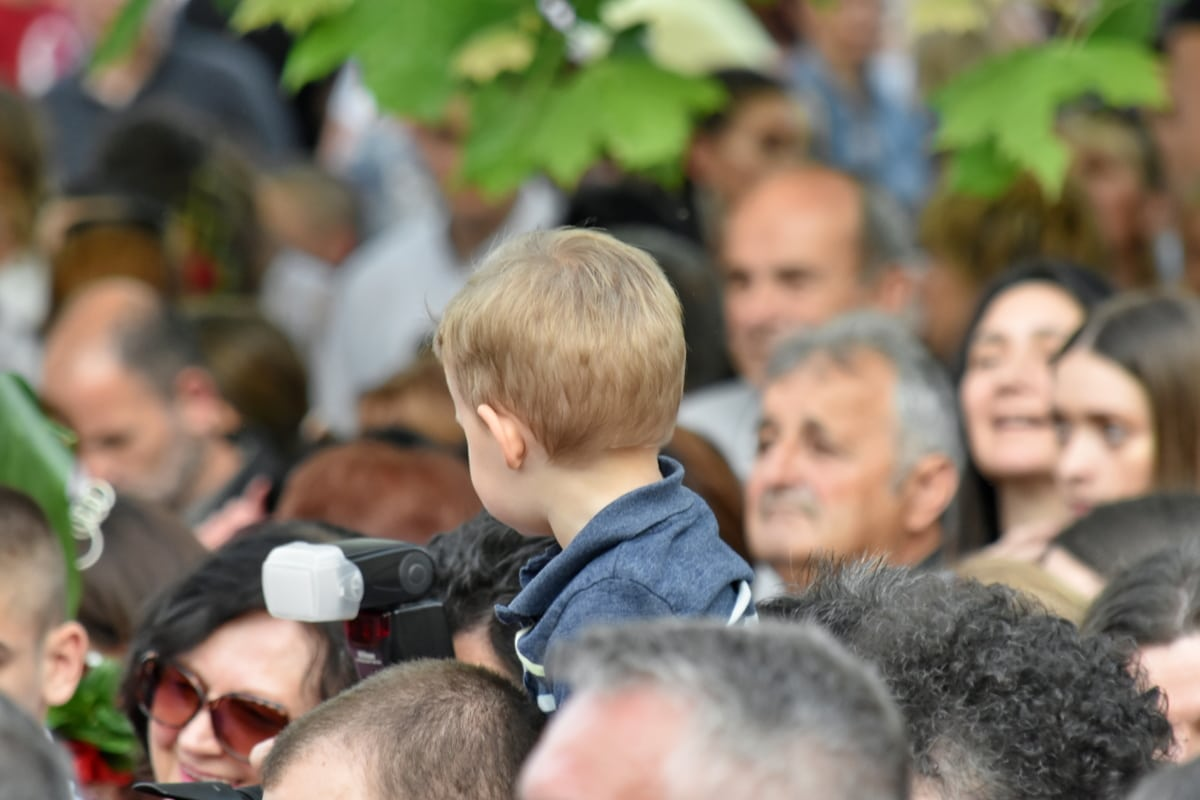 child, crowd, curiosity, spectator, outdoors, son, boy, together, love, family