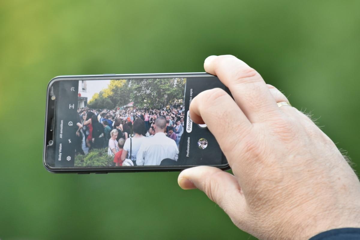 mobil, prst, Ručné, fotograf, obrazovky, Dotknite sa položky, letné, Technológia, vonku, ľudia