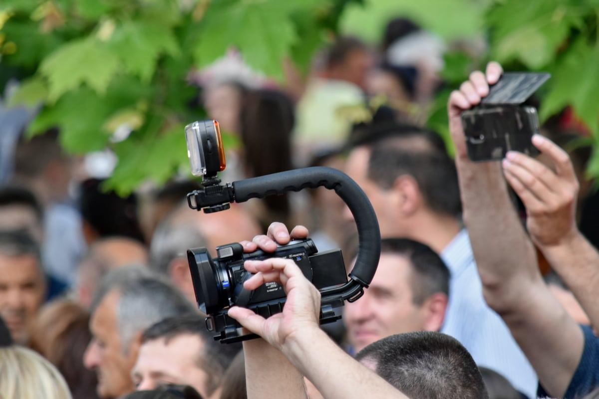 camera, crowd, festival, paparazzi, video recording, photographer, lens, journalist, movie, man