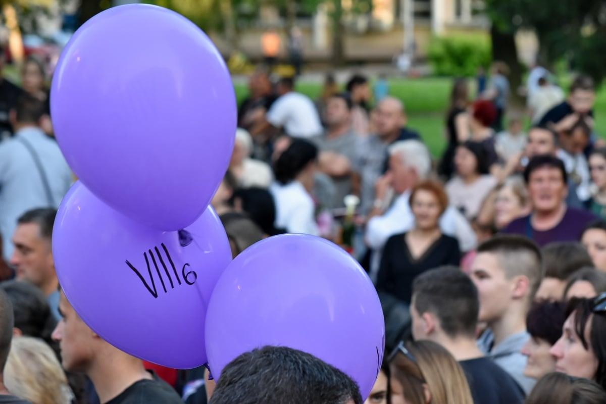 svečanosti, gužva, festival, ulica, balon, zrakoplova, ljudi, parada, krajolik, grad