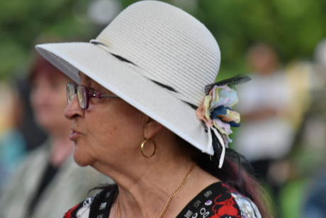 eyeglasses, fashion, hat, side view, woman, clothing, veil, person, competition, people