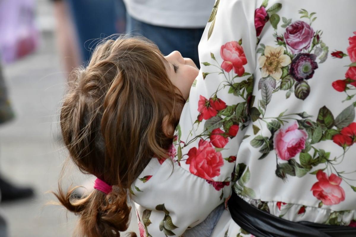djetinjstvo, kćer, obitelj, Sreća, zagrljaj, majka, spavanje, buket, vjenčanje, žena