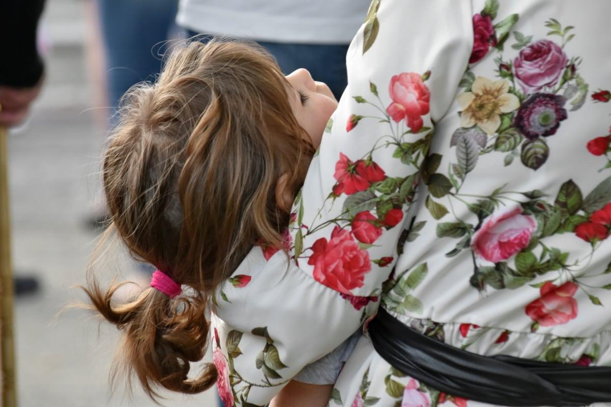 arm, childhood, dress, mother, side view, sleeping, girl, woman, nature, beautiful