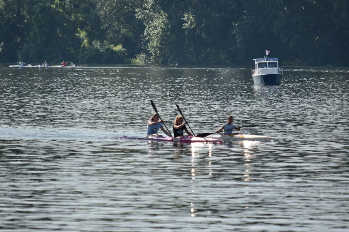 kayaking, oar, water, canal, boat, race, canoe, people, competition, watercraft