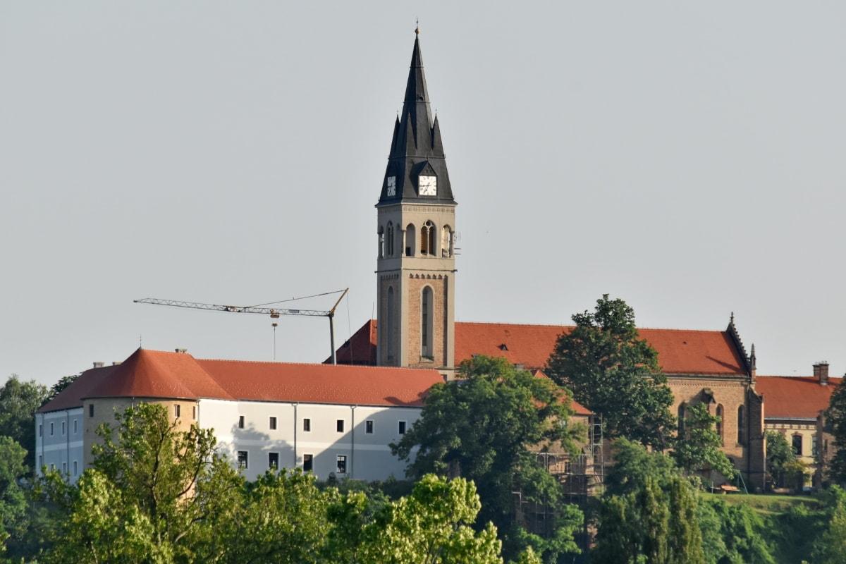 slottet, kirketårnet, tårnet, huset, klosteret, bygge, arkitektur, kirke, utendørs, gamle