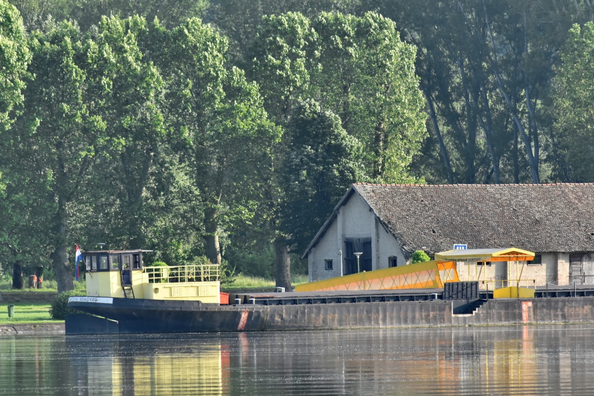 barge, coastline, Danube, forest, riverbank, boathouse, building, structure, water, shed